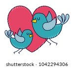 cute flying birds heart in love ...