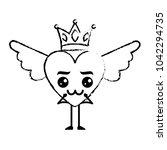 cartoon heart in love kawaii...   Shutterstock .eps vector #1042294735
