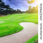 a fragment golf course with... | Shutterstock . vector #1042296016