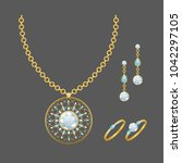 fashion jewelry set with... | Shutterstock .eps vector #1042297105