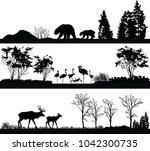 wild animals  bear  flamingo ... | Shutterstock . vector #1042300735