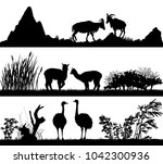 set of illustration with wild... | Shutterstock . vector #1042300936