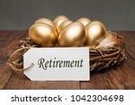 nest with golden eggs with a... | Shutterstock . vector #1042304698