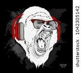 leader of a pack of gorillas.... | Shutterstock .eps vector #1042305142
