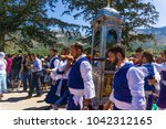 Small photo of Cephalonia, Greece/ August,2016: Feast day of Saint Gerasimos on August 16th in Cephalonia where his sacred relic in a litany procession passes over ill and sick people for the purpose of healing them