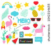 set of cute summer patches ... | Shutterstock .eps vector #1042314655