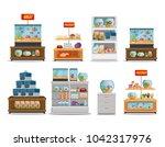 veterinary store shelvings set | Shutterstock .eps vector #1042317976
