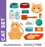 pet shop cat set icons | Shutterstock .eps vector #1042317988
