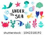 summer lettering under sea. set ...   Shutterstock .eps vector #1042318192