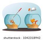 bowl aquarium with fish | Shutterstock .eps vector #1042318942