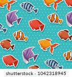set fish aquarium icon | Shutterstock .eps vector #1042318945
