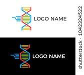 dna logo. creative unique shape ... | Shutterstock .eps vector #1042324522