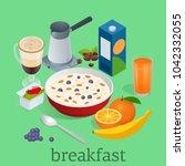 isometric breakfast and kitchen ... | Shutterstock .eps vector #1042332055