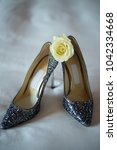 elegant bridal shoes and a rose ... | Shutterstock . vector #1042334668