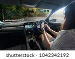 autonomous driving car and... | Shutterstock . vector #1042342192
