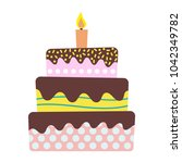 sweet birthday cake with... | Shutterstock . vector #1042349782