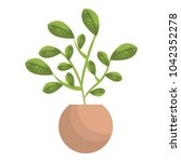 leafs plant in pot natural   Shutterstock .eps vector #1042352278