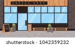 coffee shop exterior. vector... | Shutterstock .eps vector #1042359232
