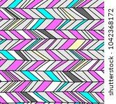 memphis chevron seamless boho... | Shutterstock .eps vector #1042368172