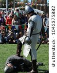 Small photo of Lithgow, New South Wales, Australia. April 2012. A slain knight in the arena at the Lithgow Ironfest.