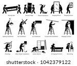 installation of home fixtures... | Shutterstock . vector #1042379122