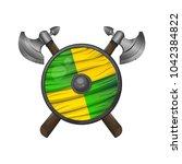 viking shield   illustration...   Shutterstock . vector #1042384822