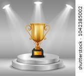 podium with trophy cup. vector... | Shutterstock .eps vector #1042385002