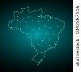 map of brazil from polygonal...   Shutterstock .eps vector #1042387516
