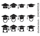 graduation cap  icons set.... | Shutterstock . vector #1042405528