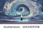 man with magic spear makes a... | Shutterstock . vector #1042405558