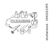 spring cleaning   isolated... | Shutterstock .eps vector #1042421395