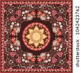 ethnic shawl in russian style... | Shutterstock .eps vector #1042423762
