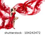 woman in red dress flying on... | Shutterstock . vector #104242472