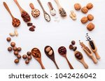 spoon of various legumes and... | Shutterstock . vector #1042426042