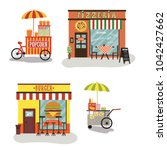 fast food restorans and tunks | Shutterstock .eps vector #1042427662