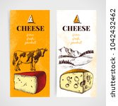 hand drawn sketch cheese banner ... | Shutterstock .eps vector #1042432462