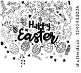 doodle decorative eggs and... | Shutterstock .eps vector #1042433026