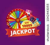 vivid banner saying jackpot and ... | Shutterstock .eps vector #1042443055