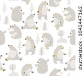 seamless vector pattern with... | Shutterstock .eps vector #1042447162