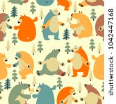seamless vector pattern with... | Shutterstock .eps vector #1042447168