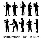 set of delivery man silhouette... | Shutterstock .eps vector #1042451875