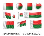 set madagascar flags  banners ... | Shutterstock . vector #1042453672