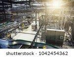 modern brewery production line... | Shutterstock . vector #1042454362