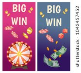 vector flat banners with casino ... | Shutterstock .eps vector #1042457452