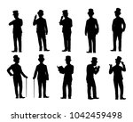 set of man in suit with top hat ... | Shutterstock .eps vector #1042459498