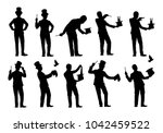 Set Of Magician Silhouette...