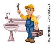 plumbing specialist with... | Shutterstock .eps vector #1042465225