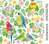 parrot seamless pattern.... | Shutterstock .eps vector #1042466782