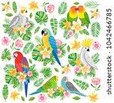 vector parrot illustration.... | Shutterstock .eps vector #1042466785