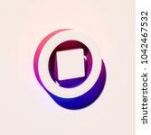 white stop contour icon. 3d...